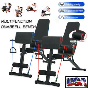 Adjustable Foldable Dumbbell Bench Fitness Sit Up AB Abdominal Home Gym Workout $77.13