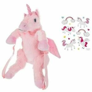 NEW UNICORN Plush Pink Backpack with Stickers for Kids Girls Toddler Gift Set $12.99