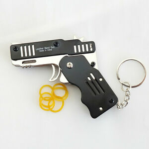 Rubber Band Gun Mini Metal Folding 6 Shot with Keychain and Rubber Band 100pcs $12.55