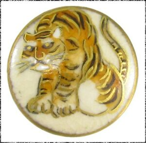 Vintage Japanese Satsuma Tiger Button Medium Size 15 16