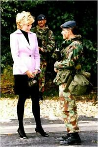 Princess Diana in conversation with a military at th Vintage photograph 687949