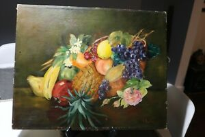 Vintage Painting of Fruit Still Life Signed $40.00