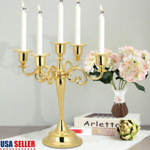 5 Arms Metal Candle Holder Candelabra Alloy Crafts Stand Wedding Home Decor USA $23.76