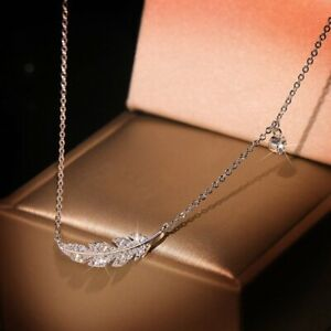 Delicate Clavicle Chain 925 Silver Feather Leaf Zircon Pendant Necklace Women