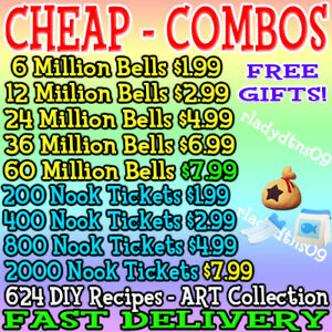 Animal Crossing:New Horizon Bells Nook Miles Tickets Fish Baits Fast Delivery $14.99