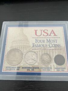 USA Four Most Famous Coins 1884 Indian Penny COA in Orginal box $9.99