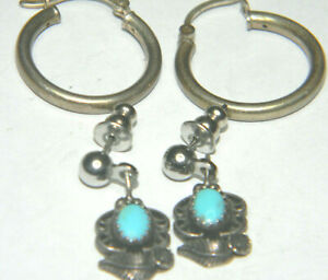 2 PAIR OF STERLING EARRINGS 3 4quot; ROUND HOOP AND NAVAJO SMALL TURQUOISE STUDS
