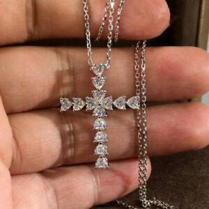 Elegant Cross 925 Silver Necklace Pendants White Sapphire Women Wedding Jewelry