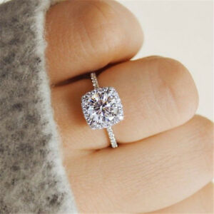 Fashion 925 Silver White Sapphire Engagement Ring Women Party Jewelry Size 5 11