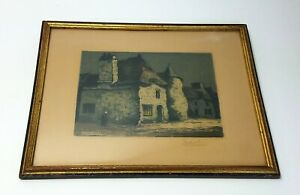 Antique Louis Davril Framed Etching Old House in Vannes $72.96