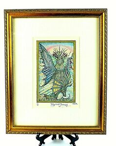 Artist SIGNED Hand Colored ROBERT KLUNK Etching MYSTICAL JOURNEY LE 23 75 FRAMED $51.07