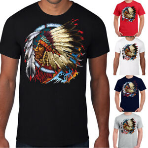 Mens Native American Indian Chief T Shirt Warrior Tshirt Graphic Tee Top S 3X $14.99