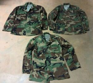 US Military BDU Woodland Camouflage Shirts or Tops X3 Sum Win Weight Small Reg