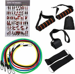 11 Piece Resistance Bands Set Elastic Work Out Band Kit for Home Fitness $9.99