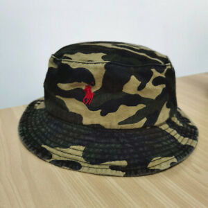 Embroidered Camouflage Polo Bucket Hat Red Logo Rider Pony Cotton Lightweight