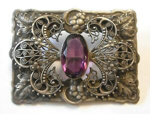 Antique Large Ornate Purple Stone Brooch Grapes Leaves w Cannetille Scrollwork $49.00
