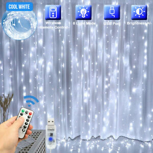 300LED 10ft Curtain Fairy Hanging String Lights Wedding Party Wall Decor Lamp US $10.89