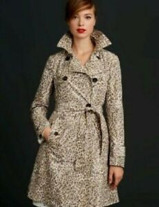 NWT Banana Republic Mad Man Collection Leopard Print Trench Jacket Coat PXS 0P 2