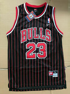 New NBA Jersey Michael Jordan #23 Chicago Bulls Retro Stripe Black NEW