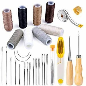 30 Pieces Leather Sewing Kit Upholstery Repair With 8 Colors Thread Needles $17.68
