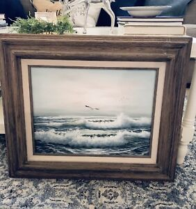 """Vintage Seascape Signed W Dawson Framed Oil Painting on Canvas 12""""x16"""" $199.00"""