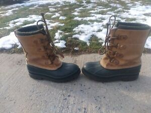 LL Bean Men#x27;s Boots Duck Brown Rubber Leather Rain Hunting Size 8 M US