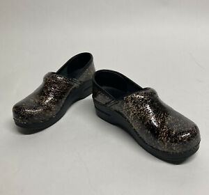 Dansko Leather Metallic Speckled Brown Clogs Nursing Shoes Sz 37 US Size 6.5