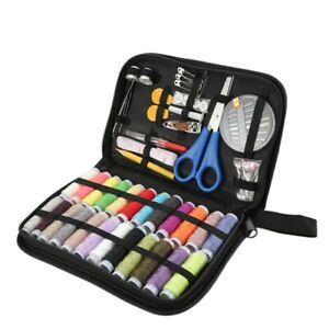 24 Color Sewing Kit Measure Scissor Thimble Thread Needle Storage Box Travel Set $8.64