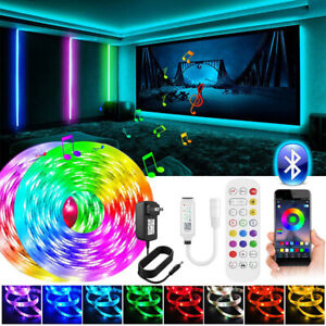 65Ft 50Ft 5M10m LED Strip Lights 5050 Music Sync Bluetooth Remote Room Light Kit $13.86
