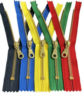 YKK #5 Brass Metal Donut Pull Zippers for Sewing Bags Craft Closed End 4quot; to 6quot; $3.25