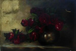 19th c. Victorian Oil Painting Still Life Red Roses Shabby Cottage Chic $149.00