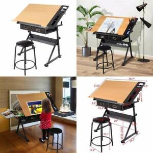Adjustable Drafting Craft amp; Angle Art Table W Drafting Stool Beige amp; Black Home $168.99