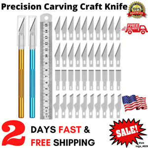 Kit 40 Exacto Knife Set Blades Refill Ruler Xacto For Craft Cutting And Crafting $10.15