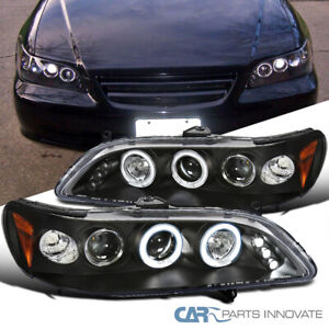 For 98 02 Honda Accord 2 4Dr Matte Black LED Halo Projector Headlights Lamps $119.65