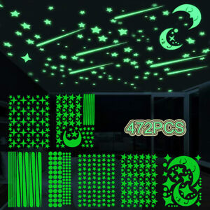 472Pc Glow In The Dark Luminous Stars Moon Wall Stickers Space Kid Ceiling Decal