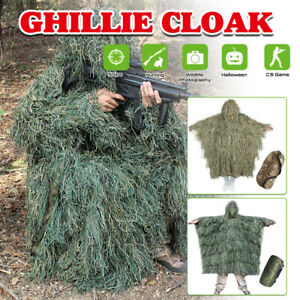 Ghillie Suit 3D Leaves Camouflage Clothing Outdoor CS Woodland Hunting Cloak