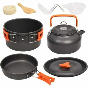 Camping Cookware Kit Outdoor Hiking Traveling Picnic Aluminum Cooking Set