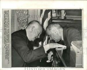 1963 Press Photo Presidents Eisenhower and Johnson confer in Washington D.C.