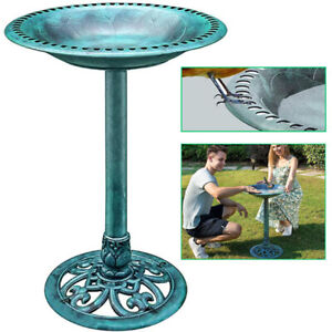 28 in Pedestal Bird Bath Outdoor Garden Yard Antique Decor Lightweight Birdbath $28.49