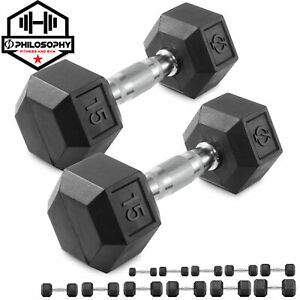 Pair of Rubber Coated Hex Dumbbell Hand Weight Set 5 lb to 50 Pound $89.99