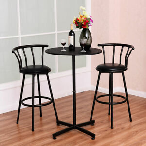 Bar Table Set with 2 Stools Bistro Pub Kitchen Dining Furniture Black3 Piece $22.99
