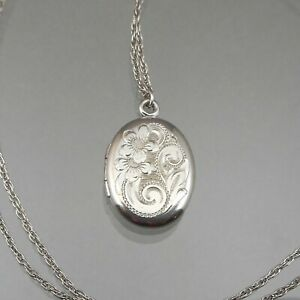 Vintage Silver * Oval Locket Signed W.LM Pendant Sterling Chain Necklace Flowers