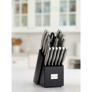Emeril 15 Piece Hollow Handle Carbon Stainless Steel Knife Set With Block $94.99