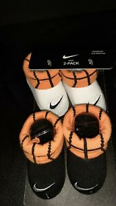 New Nike Jordan Newborn Infant Booties 0 6 Months Black Baby Shoes Gift Set 2 Pk $15.00