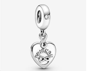PANDORA Friends Forever Heart Dangle 925 Sterling Silver Bracelet beads charms