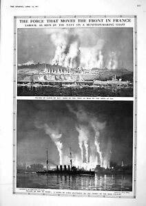 Original Old Vintage Print 1917 Navy War Ship Fire France Iron Country 20th GBP 16.00