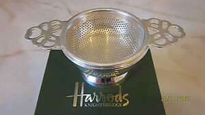 New in Box Harrods silverplate tea strainer 2 pieces $35.00