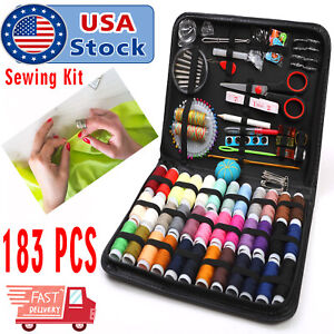 183Pc Sewing Kit Measure Scissor Thimble Thread Needle Storage Box Travel Set $15.97