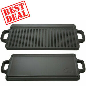 Reversible Cast Iron Grill Griddle Pan Ribbed Flat Hamburger Steak Stove Top Fry