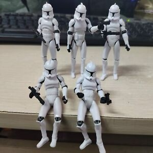 Lot 5 Star Wars Clone Wars No.5 Clone Trooper 3.75quot; Action Figure with Guns $18.04